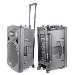 PORT15UHF IBIZA Aktywna kolumna mobilna z odtwarzaczem MP3 SD/US, tunerem FM oraz odbiornikiem Bluetooth oraz dwoma mikrofonami
